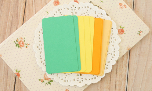 Citrus mix blank business cards 50pc round corner business card blanks in a set of 4 colours maize tangerine dandelion emerald green made from 100 british made acid free card stock reheart Gallery