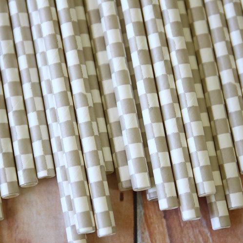 grey checkers paper straws