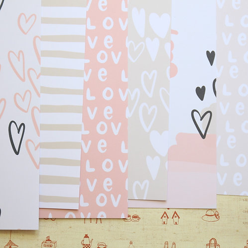 set 01 sweet hearts mix printed card stock