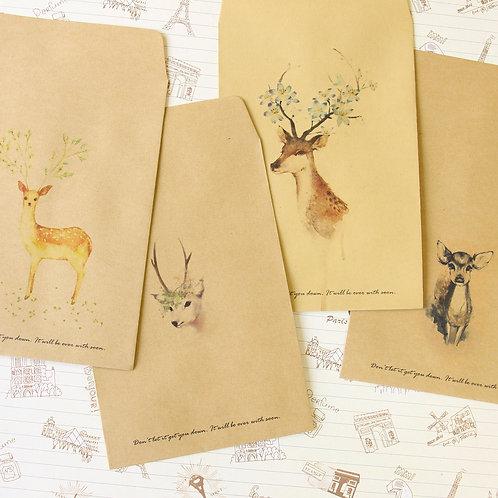 retro vintage deer kraft paper envelopes