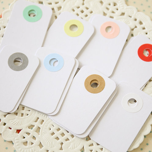 smooth white rounded rectangle tags
