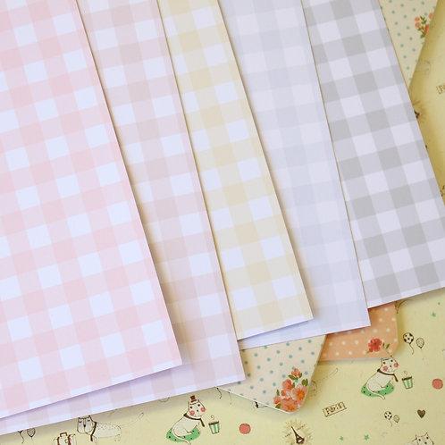 set 03 pastel gingham mix printed card stock