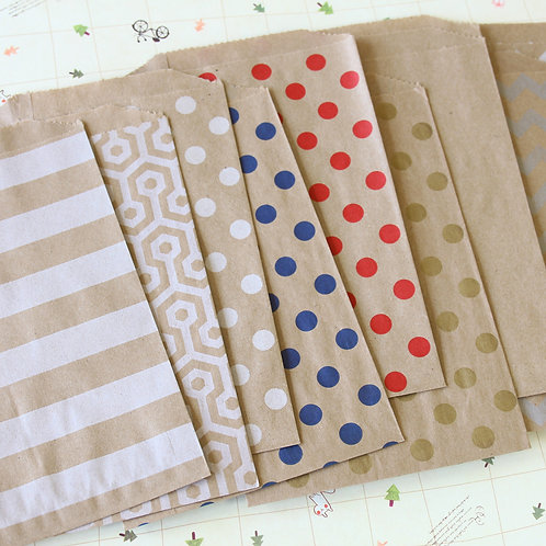 kraft brown patterned middy bitty paper bags