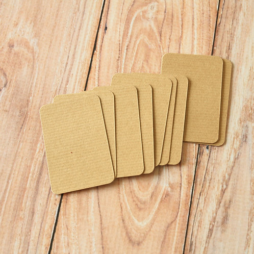 rippled brown kraft blank business cards
