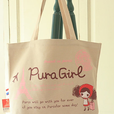 pura girl cartoon canvas tote bag