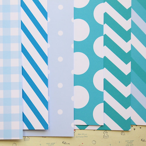 set 03 blue picnic mix printed card stock