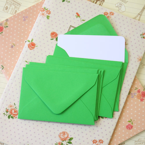 fern green colour mini envelopes & note cards