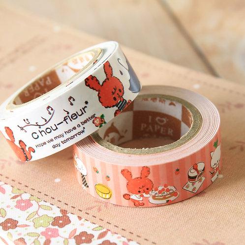 chou fleur rabbit mini cartoon paper tape set