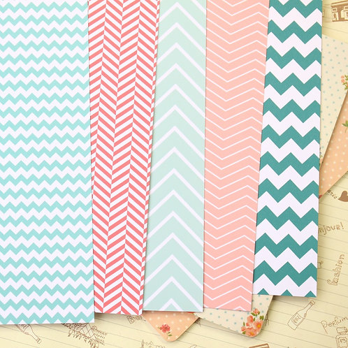 set 02 watermelon chevron printed card stock