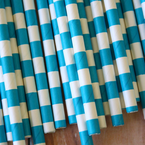 dark aqua circle stripe paper straws