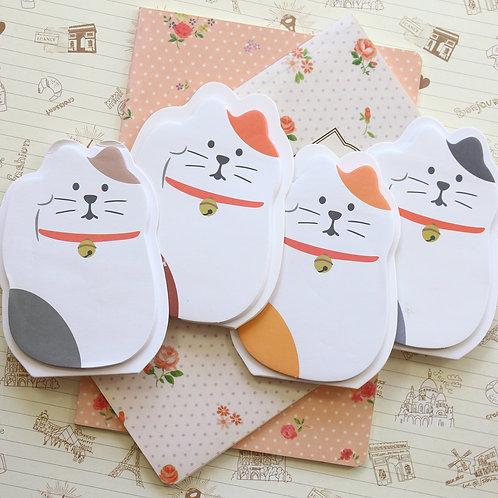 lucky cat cartoon sticky notes