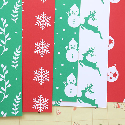 set 02 red and green christmas mix printed card stock