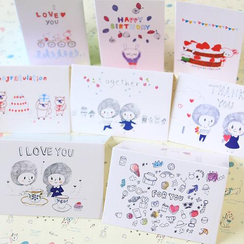 millo cartoon mini greeting cards set