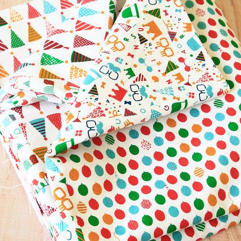 party time cartoon cotton linen blend fabric quarter