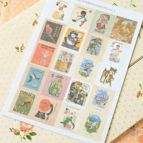 vol 1 europe vintage style cartoon stamp stickers