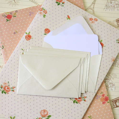 oyster lustre mini envelopes & note cards