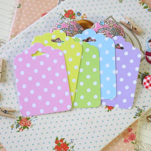 white polka dot pastel ornate scallop tags