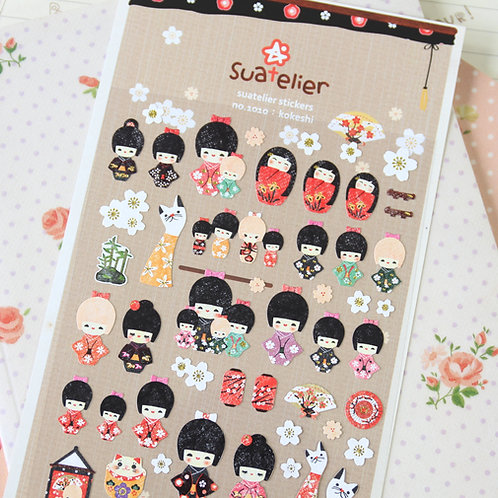suatelier kokeshi cartoon stickers