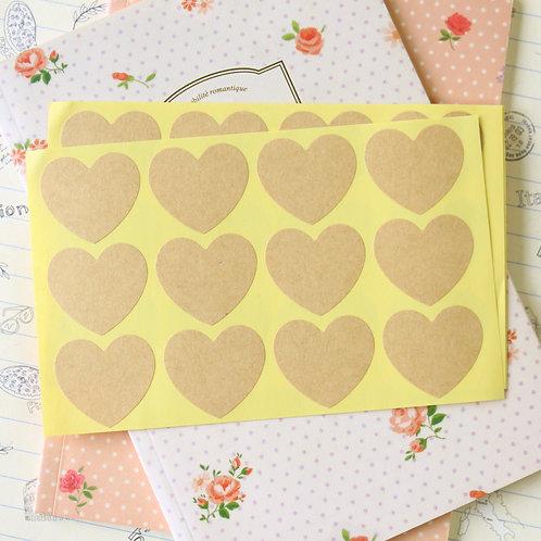 heart shapes kraft brown sticker seals