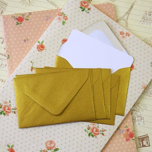 metallic gold lustre mini envelopes & note cards
