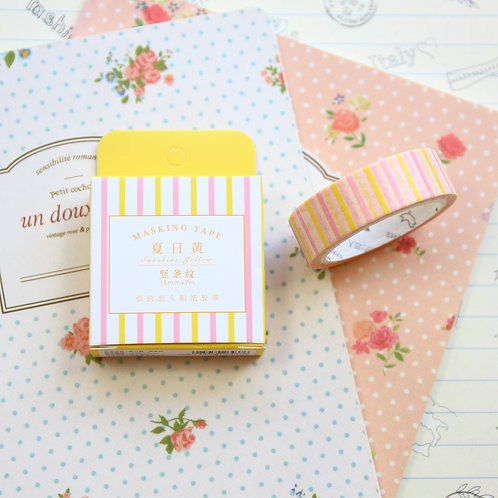 pink and yellow stripes cardlover simple series washi tape