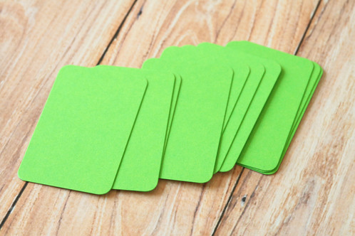 Lime green blank business cards 50pc round corner business card blanks made from cardstock with 75 100 recycled content very eco friendly these are ready to use for customized stamped reheart