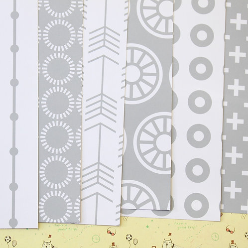 set 02 grey & white patterns printed card stock