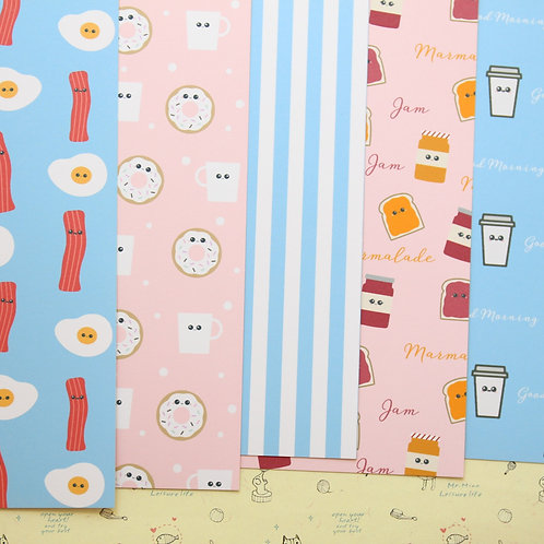 set 01 cute breakfast patterns printed card stock