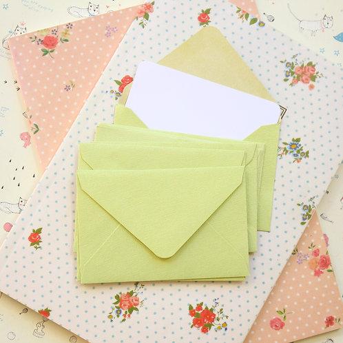 bean green textured mini envelopes & notecards