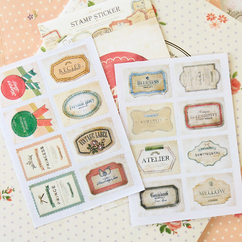 06 labels ancien cartoon stamp stickers