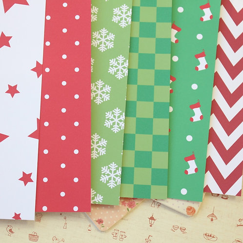 set 01 christmas patterns printed card stock