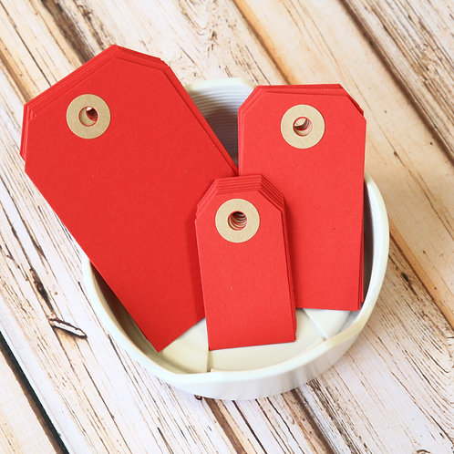 scarlet red colour luggage tags