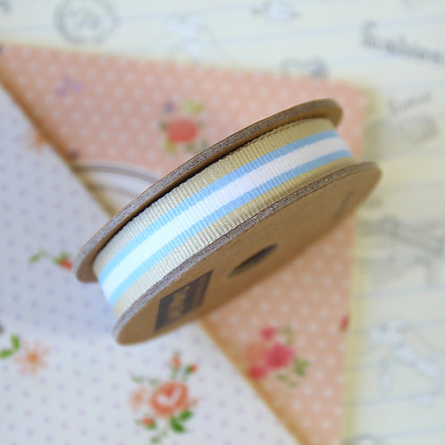 jane means beige & blue stripe grosgrain ribbon