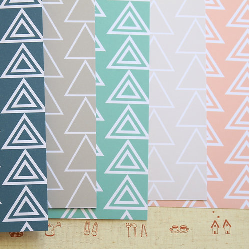 set 01 modern triangles printed card stock