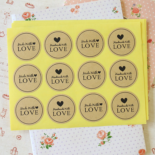 handmade with love kraft brown sticker seal labels