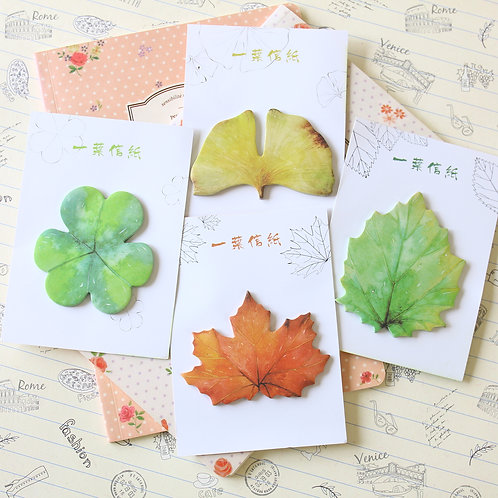 autumn leaves cartoon shapes sticky notes
