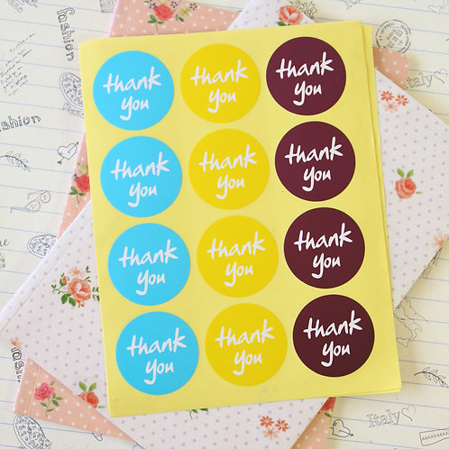 round thank you sticker seals