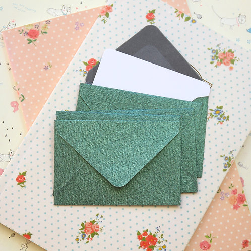 forest green textured mini envelopes & notecards