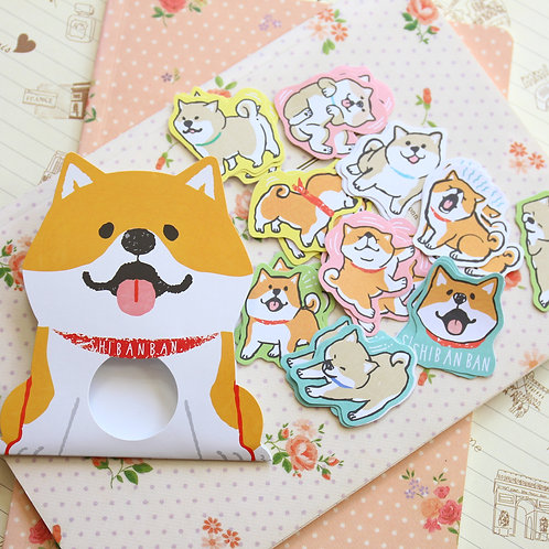 01 shibanban dog cartoon sticker flakes