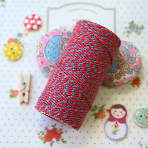 red & slate grey two tone everlasto bakers twine 20m