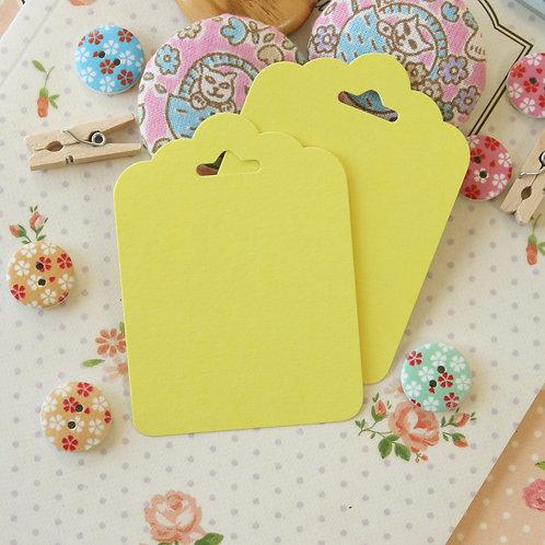 lemon yellow ornate scallop tags