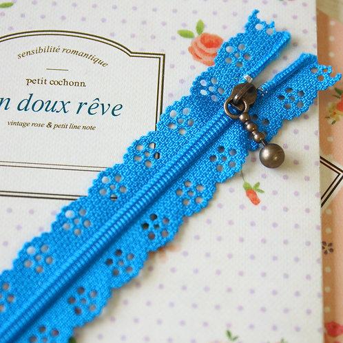 medium blue flower lace zipper
