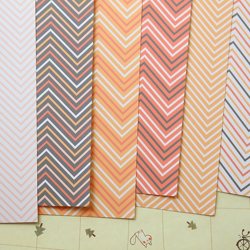 set 01 autumn chevron printed card stock