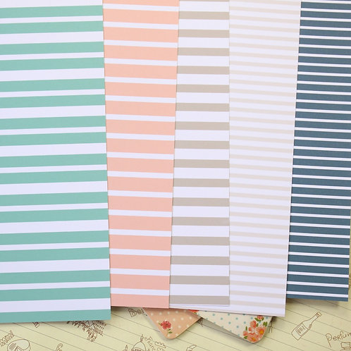 set 02 sea stripes printed card stock