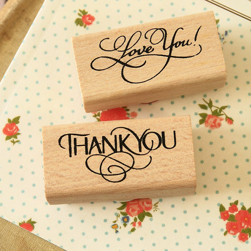fancy message wooden rubber stamps