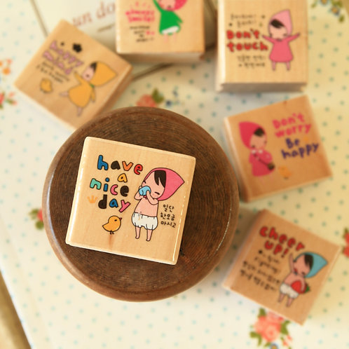 pony brown girl rubber stamp
