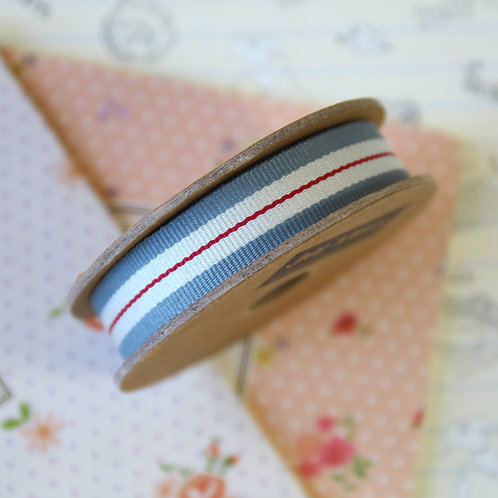 jane means grey & red stripe grosgrain ribbon