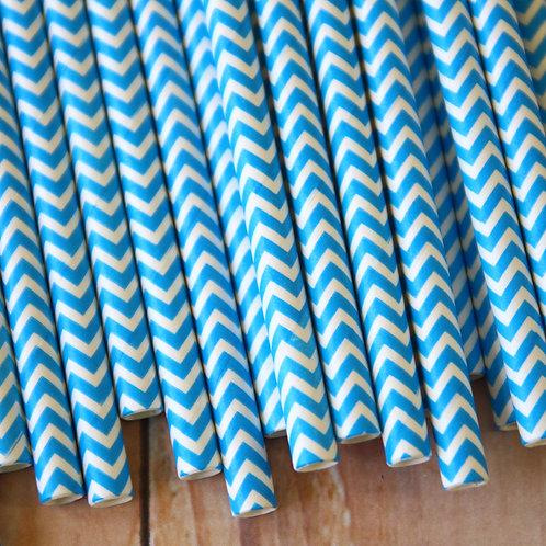malibu blue chevron paper straws