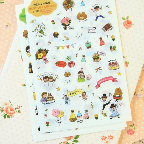 happy life cartoon stickers set