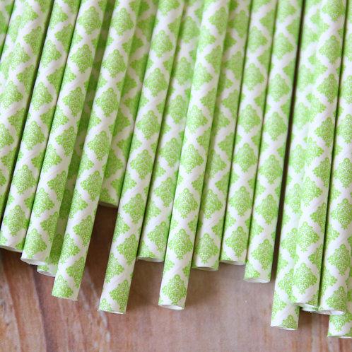 lime green damask paper straws